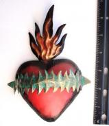Flaming Sacred Heart Tin Ornament  # 31