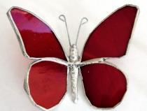 Stained Glass 3 in. Buttefly   RED  #200