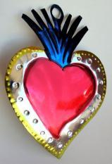 Tin Ornament Flaming Heart # 32