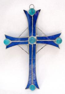 Stained Glass Large Cross Blue #310