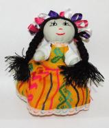 Handmade Mexican Doll 6 inch Orange #D2021