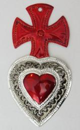Tin Sacred Heart Ornament # 40