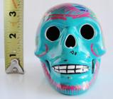 Ceramic Day of the Dead Skull HANDPAINTED  BLUE # CESK37