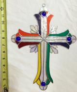 Large  13 inch  MULTI COLORED  Stained Glass Cross  #2500