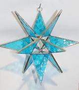 Giant Stained Glass 7-inch LITE  BLUE STAR  Suncatcher # 77