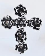 Tin Cross with Roses  6 inch   TC600