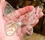 Stained Glass  Butterfly  4 Inch  Clear   #156