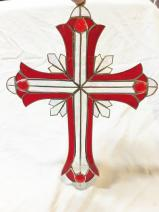 Large 13 inch RED Stained Glass Cross   #2501