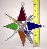 Giant Stained Glass 7 inch MULTI COLOR STAR  Moravian style Suncatcher # 77