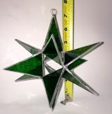Giant Stained Glass 7 inch  GREEN STAR  Moravian style Suncatcher # 78