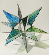Giant Stained Glass 7 inch  BLUE/GREEN STAR  Moravian style Suncatcher # 79
