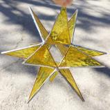 Giant Stained Glass 7-inch YELLOW STAR Moravian style Suncatcher #72