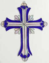 Large  BLUE  13 INCH  Stained Glass Cross  #2510