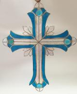Large  13 inch  LITE BLUE   Stained Glass Cross  #2514