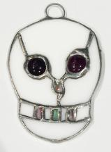 Stained Glass SKULL w- Purple eyes -Day of the Dead   #780