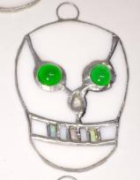 Stained Glass SKULL w- Green eyes -Day of the Dead   #781