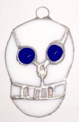 Stained Glass SKULL w- Blue eyes -Day of the Dead   #782
