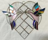 Stained Glass  KISSING HUMMINGBIRDS   #255