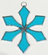 Stained Glass 4 inch SNOWFLAKE LITE BLUE #102