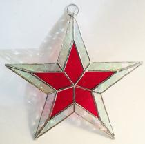 RED  Stained Glass STAR 5 1/2 inch.  Flat   #SG700