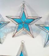 LITE BLUE  Stained Glass STAR 5 1/2 inch.  Flat   #SG703
