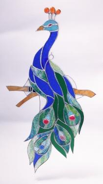 Giant Stained Glass Peacock - 21 Inches tall!   #SGS777