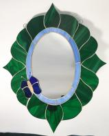STAINED GLASS  -  WALL MIRROR-  GORGEOUS!  SGS#5000