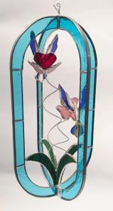 STAINED GLASS  -  BLUE   HUMMINGBIRD FEEDER - STUNNING!  SGS#5010