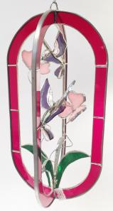 STAINED GLASS  - RED   HUMMINGBIRD FEEDER - STUNNING!  SGS#5011
