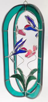 STAINED GLASS  - GREEN    HUMMINGBIRD FEEDER - STUNNING!  SGS#5014