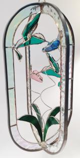 STAINED GLASS  - CLEAR   HUMMINGBIRD FEEDER - STUNNING!  SGS#5015