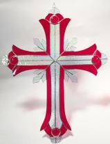 GIANT 2 foot tall Stained Glass Crucifix  RED  #SGS7000