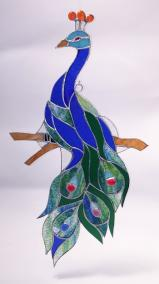 Large Stained Glass PEACOCK 21 inches!     SGS777