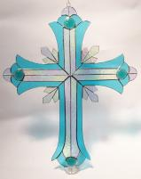 GIANT 2 foot tall Stained Glass Crucifix  BLUE  #SGS70001