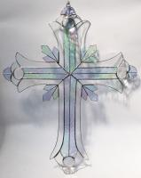 GIANT 2 foot tall Stained Glass Crucifix CLEAR  #SGS70002