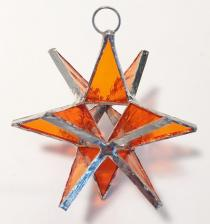 Orange 3 inch Stained Glass Star #SG998