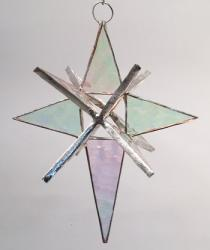 Moravian Style Stained Glass  4 inch Clear  STAR