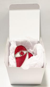 4 inch RED HEART with Glossy White Box    B2007